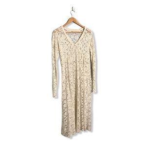 Zara | Dainty All Lace Maxi Dress Low Cut In Cream